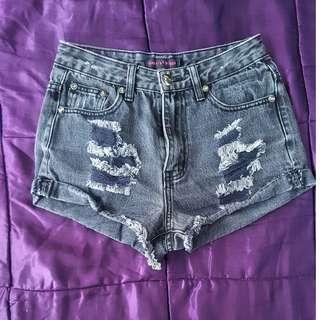 black distressed tattered denim jean shorts