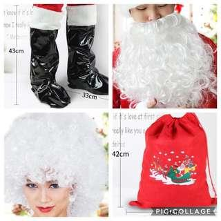IN STOCK Santa Claus accessories Santa Claus beard boot covers bag wig Christmas costume accessories