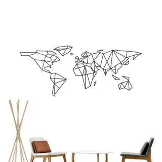 Geometric World Map Vinyl Wall Sticker Design Room Travel Decor