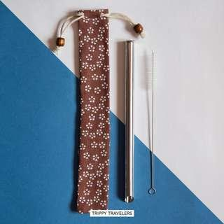 🚚 Stainless Steel Bubble Tea Straw/ Smoothie Straw -Brown Pouch