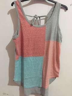 Just G Multicolor Tie Back knot Top