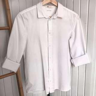 H&M White Long Sleeve Button Up
