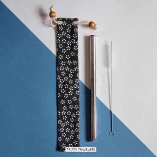 🚚 Stainless Steel Bubble Tea Straw/ Smoothie Straw -Dark Grey Pouch