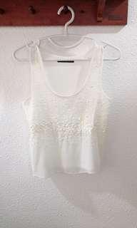 LN Atmosphere White Sequin Top