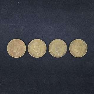 1948, 49. 50, 51年 英皇喬治六世香港壹毫硬幣各一個,共4個 (包郵)