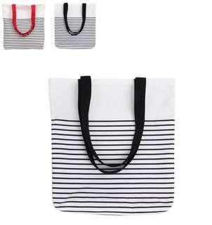 🚚 Canvas Tote Bag (red stripes left)