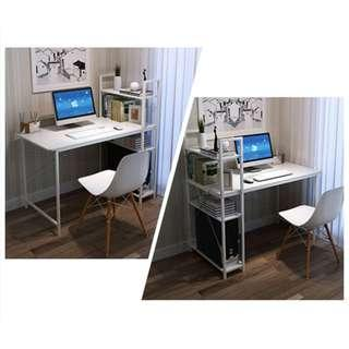 Study Table with Bookrack #2 (White)