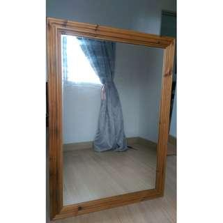 Thick Solid Pine Wood Framed Wall Mirror