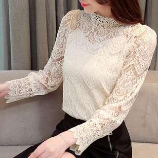 🚚 (56853)性感鏤空圓領長袖蕾絲衫(兩色)