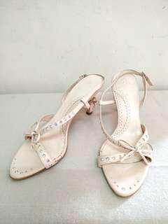 Authentic Rebecca Taylor Light Pink Leather Dinner Shoes. Made in Japan