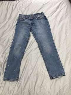Zara jeans with gem stones size 34