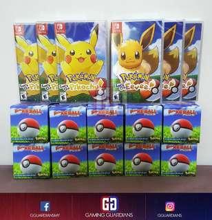 NS Pokemon Let's Go Pikachu, Eevee, Pokeball Plus