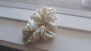 Yellow floral white scrunchie handmade