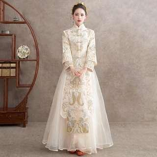 Wedding Gown Tea Ceremony Kua New Modern Champagne