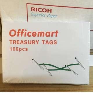 Treasury Tags 綠色串文件 盲公繩 1盒(有分2吋或3吋)