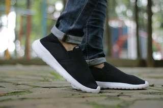 Adidas Cloadfoam Black Cowok | Sneaker Simple | Sepatu Hitam