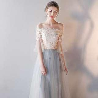 Bridesmaid Dress Simple Photoshoot Gown Long Dress Lace Design