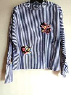 Flower Stripe Embroidery Top