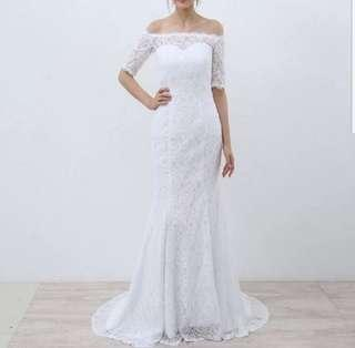 White off shoulder lace dress / evening gown / Wedding Gown