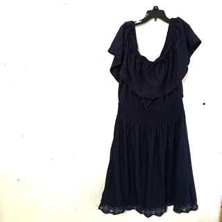 Tixxie DarkBlue OffShoulder Dress