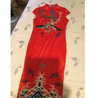 Silk Red Phenix Pictured Traditional Dress (Qipao)