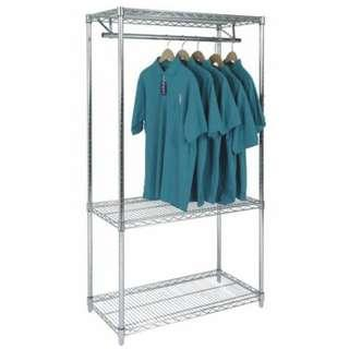 BNIB DIY Garment Rack metal chrome wire shelving