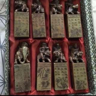 🚚 最優惠!八仙過海壽山石含收藏盒(可刻印章)
