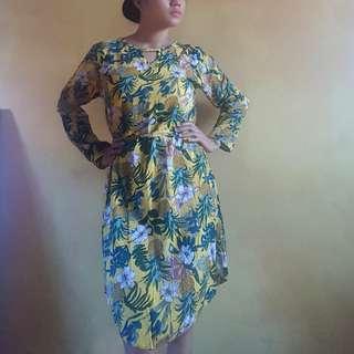 Pineapple Print Longsleeves Dress