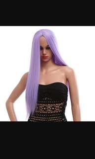 STYLISH LONG STRAIGHT CENTRAL PARTING SYNTHETIC WIGS COLORS HAIR FOR WOMEN (PURPLE)