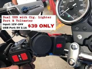 Dual USB with Cigarette Lighter Port & Voltmeter
