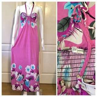 NC090 rose pink floral halter maxi dress