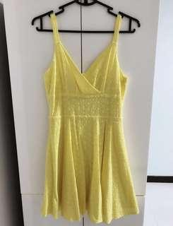HVV Yellow Crochet Sexy Skater Dress