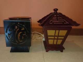 Electric lamp with essential oil burner tray