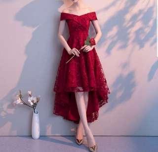 Off shoulder wine red elegant high low Dress / evening gown