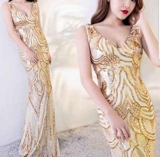 Elegant gold sequin mermaid Dress / evening gown