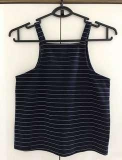 RWB Cut In Navy Stripe Crop Top