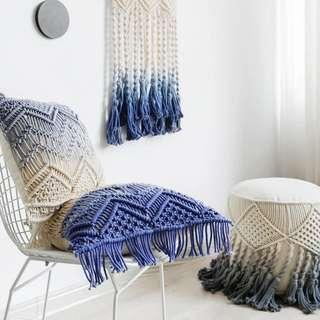 🚚 Macrame Cushion Colour-dyed