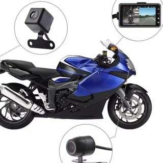 New Bike / Motorbike Front & Rear Recording Camera With LCD - Complete Set