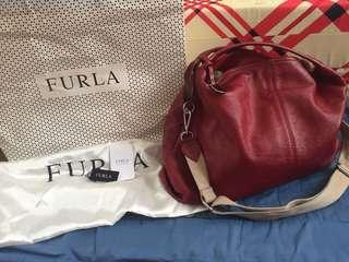 *REPRICE* Preloved authentic furla hobo pebbled leather