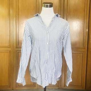 H&M Blue and White Striped Polo Shirt