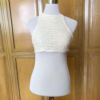 White Crochet Halter Top