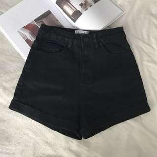Black Cuffed denim shorts