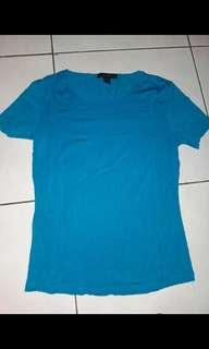 Baju top kaos tshirt polos express biru