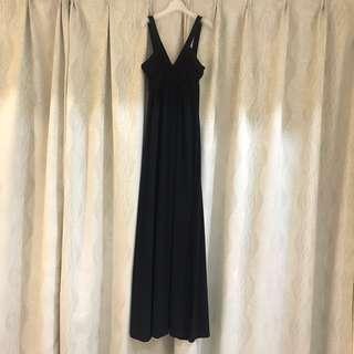 Simple Elegant Long Black Evening Maxi Dress Gown