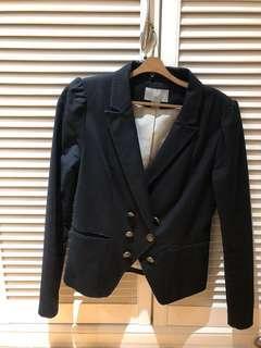 H&M黑色雙排扣外套