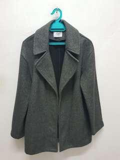 ZARA Wide Lapel Coat (Dark Grey)