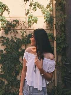 off shoulder flowy white top