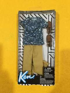 🆕Barbie Ken Blue Print Shirt & Tan Pants