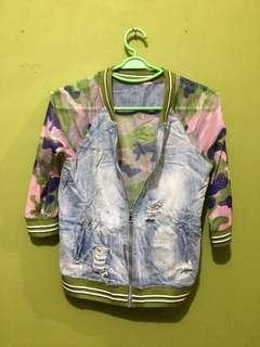 Denim and net combi jacket