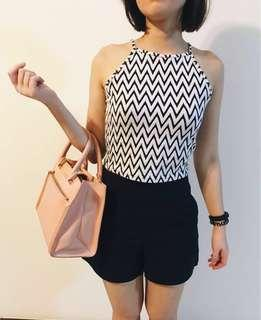 Striped Cami Croptop B&W